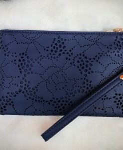 NAVY BLUE ROSE CUT OUT CLUTCH