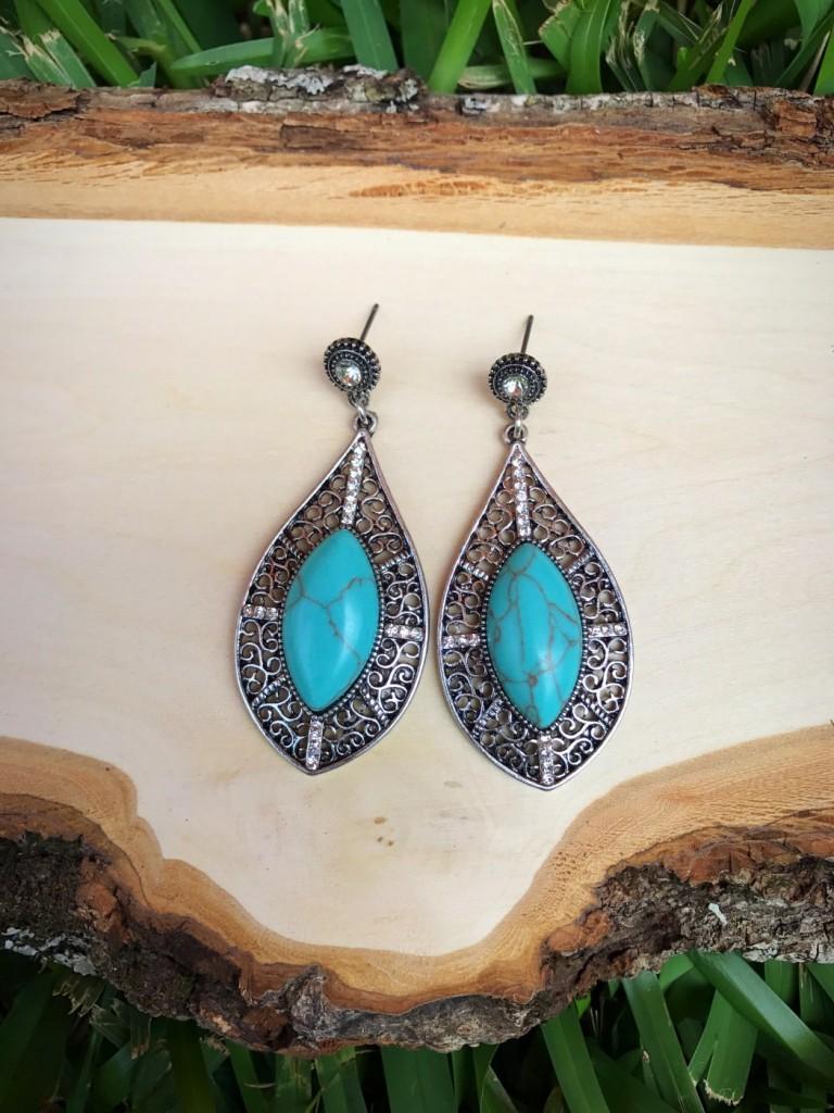 Cut Out Silver & Turquoise Teardrop Earrings