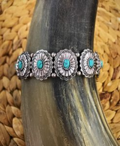 Turquoise & Silver Concho Bracelet