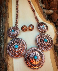 """ Alexia "" Turquoise & Copper Concho Necklace Set"