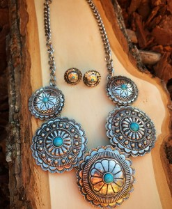 alexia turquoise & silver concho necklace set