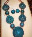 floral turquoise necklace set