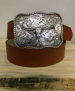 Brown Faux Leather & Silver Longhorn Belt Buckle