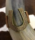 METALLIC LEATHER HORSESHOE BRACELET
