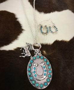 Turquoise & Silver Horseshoe Pendant & Horse Charm Necklace Set