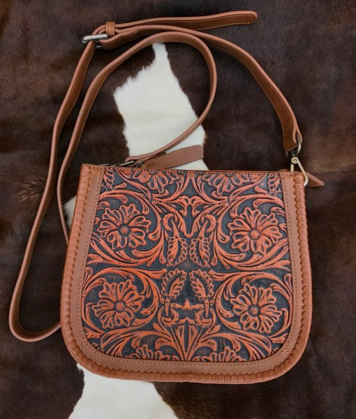 100 Leather tooled cross body