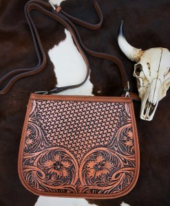floral tooled crossbody