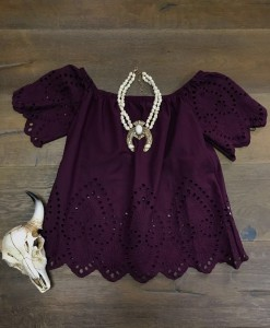 EYELET TOP ( PURPLE )
