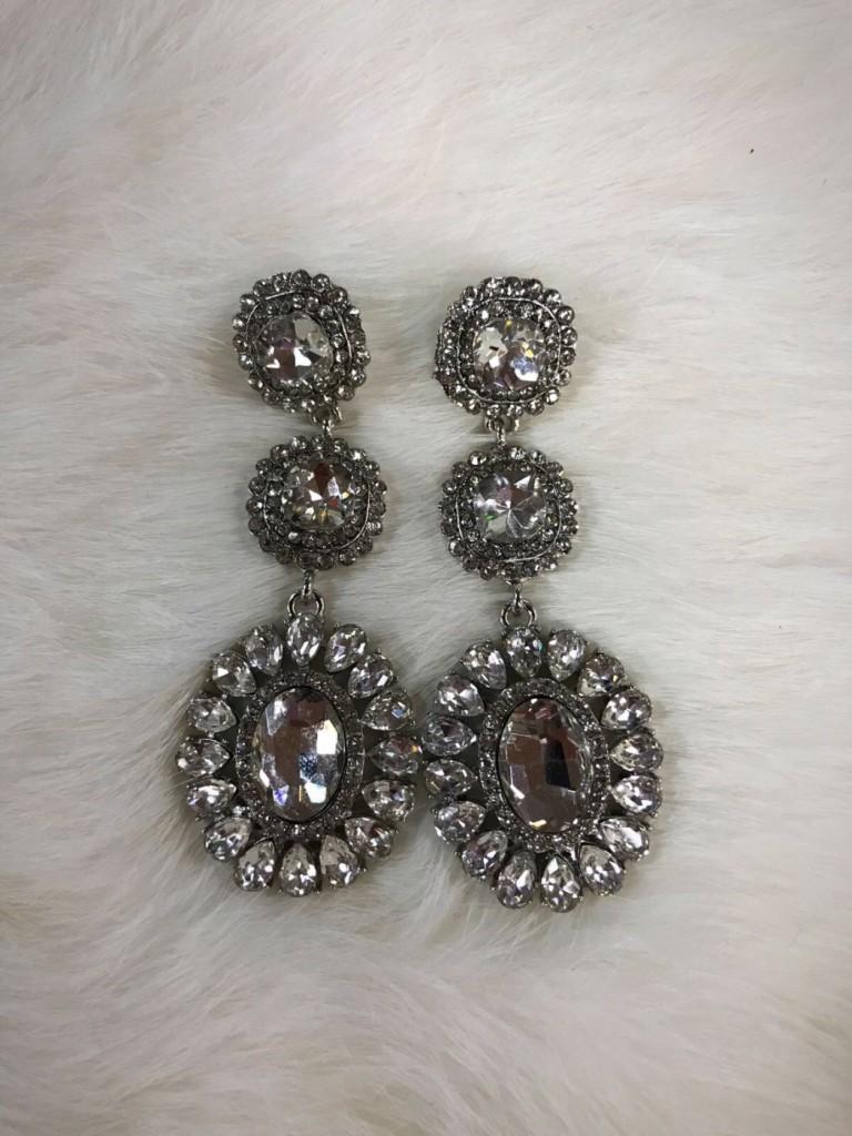 """ Luna ""  Crystal Earrings ( Silver )"