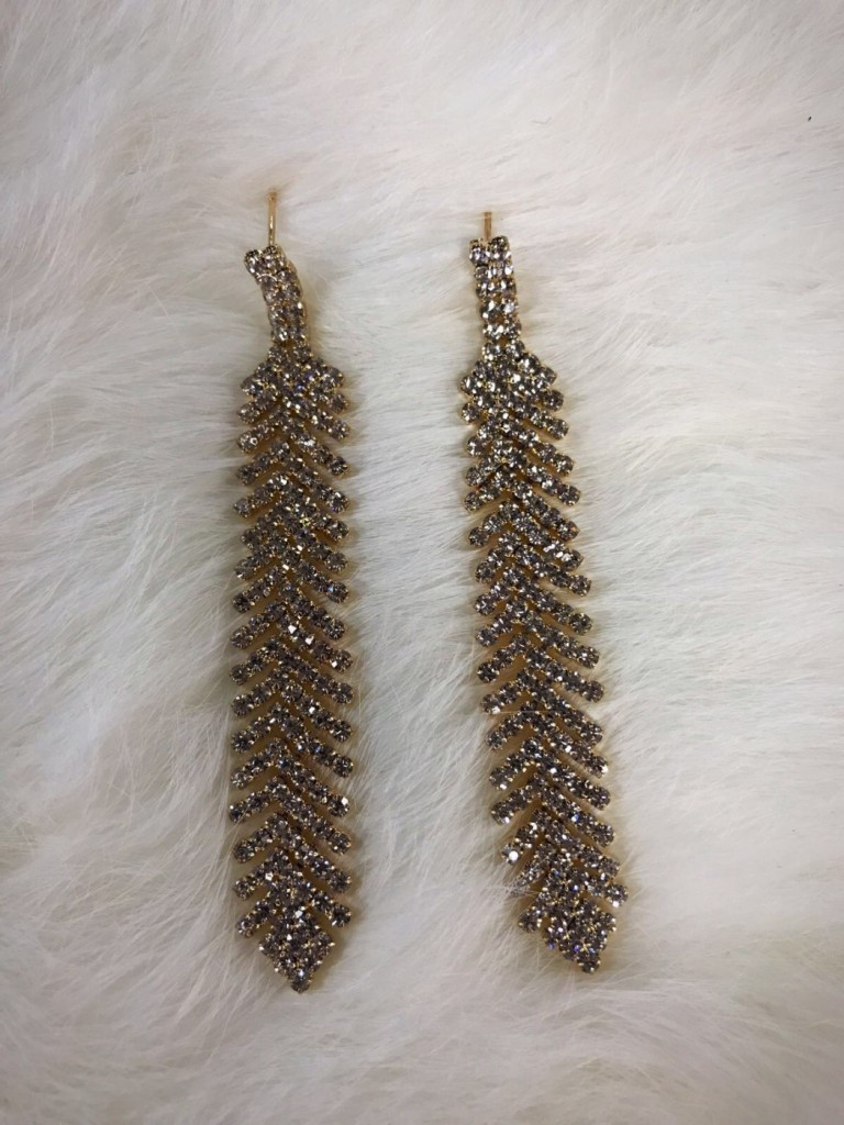 """"""" Everly """" Crystal Fashion Earrings ( gold )"""
