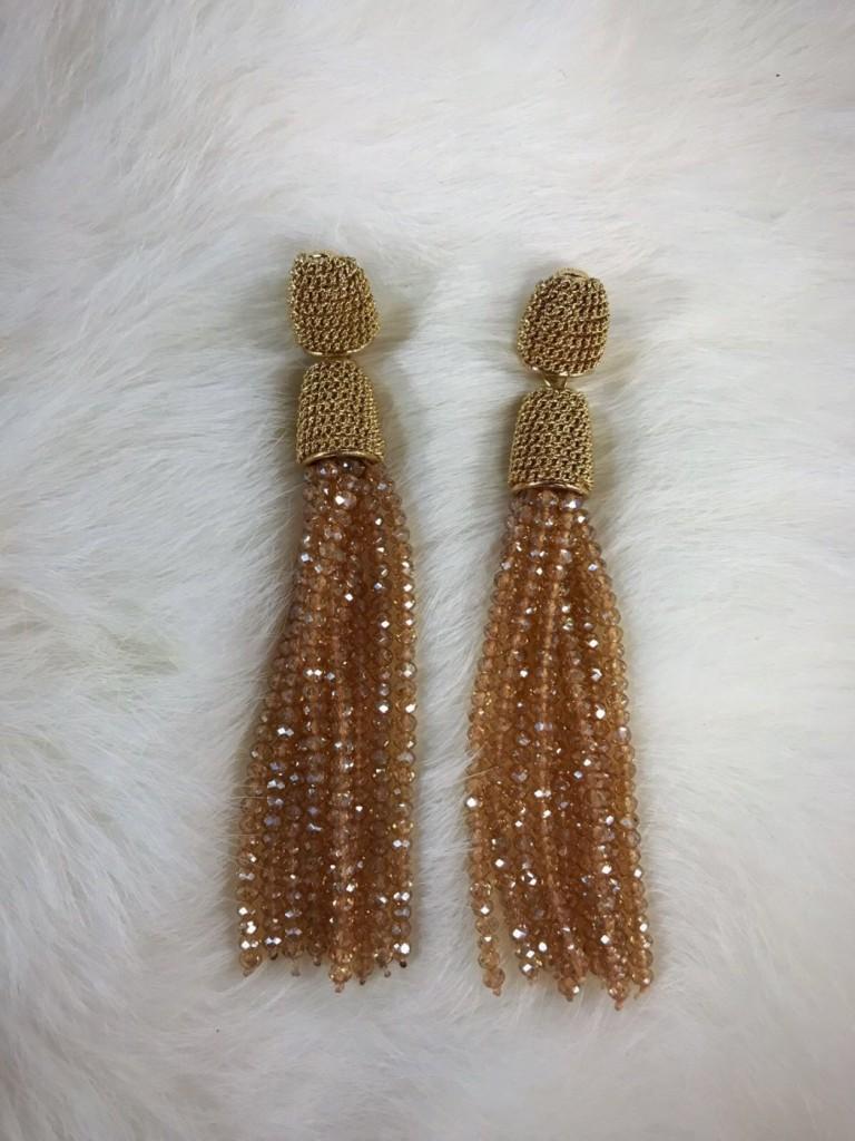 """"""" Karla """" Trendy Fringe Bead Earrings (  Gold )"""