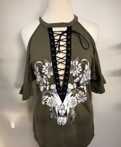 bull skull lace up top