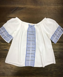 White & Blue Detail Embroidery Top ( Off The Shoulder )