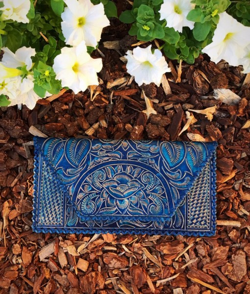floral tooled clutch