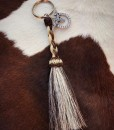 """ Girly "" Braided Horsehair & Longhorn on Horseshoe Charm Keychain"