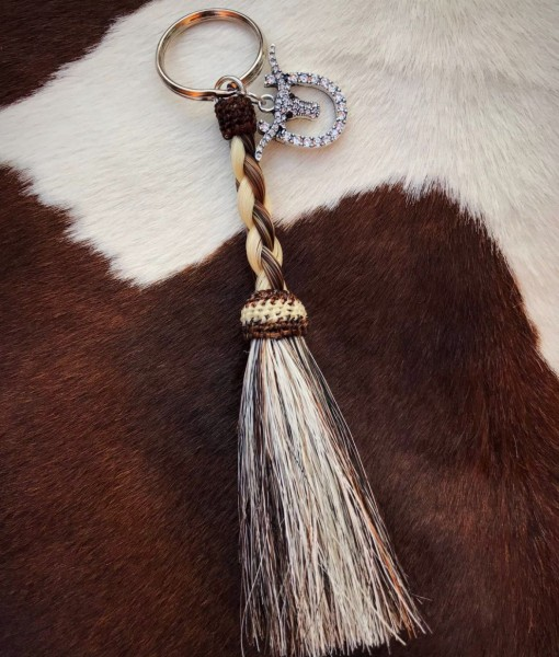 """ Girly "" Braided Horsehair & Longhorn on Horseshoe Charm Keychain"