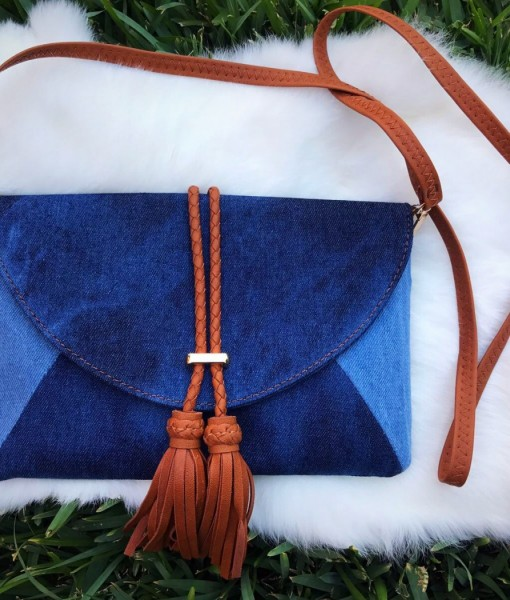 Denim & Brown Tassel Crossbody