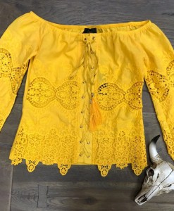 Eyelet & Lace Up Off The Shoulder Top  ( Mustard )