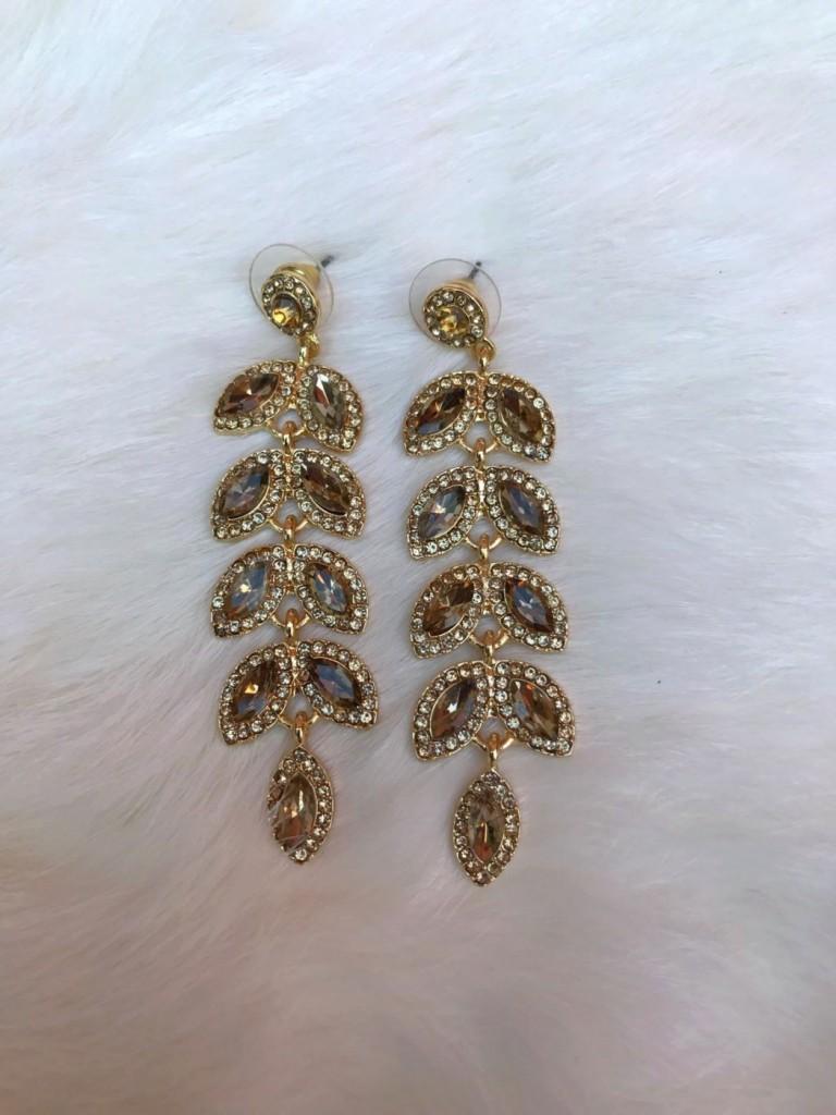 """ Shakira "" Crystal Earrings ( gold )"
