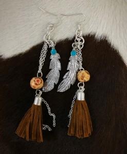 Feather , Chain , Leather Tassel Earrings