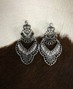 """"""" Grace """" Cut Out & Rhinestone Earrings ( Silver )"""