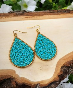 Turquoise & Gold Handmade Teardrop Earrings