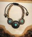 Triple Turquoise Concho & Adjustable Bracelet ( Antique Gold )