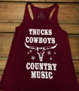 """ TRUCKS , COWBOYS , COUNTRY MUSIC "" Longhorn Tank Top ( Burgundy )"