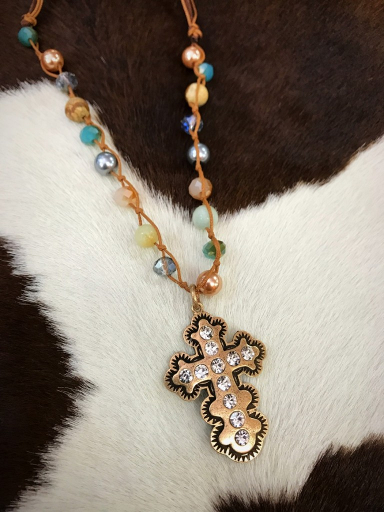 Handmade Crystal & Cross Pendant Necklace