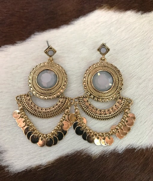 """ April "" Layered Coin Drop Earrings ( gold )"