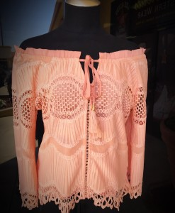 Powder Pink Eyelet & Off The Shoulder Shirt