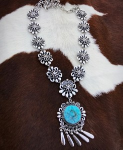 """"""" C. A  """" Silver Floral & Turquoise Detail Necklace"""