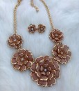 Brown & Gold Flower Necklace Set