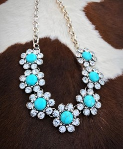 Turquoise & Crystal Flower Necklace
