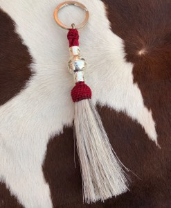 """ Nickel Silver "" Horsehair Keychain ( Red )"