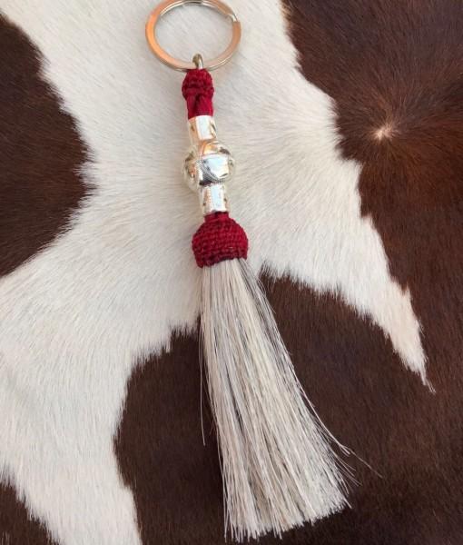 """ Nickel Silver "" Horsehair Keychain ( Red )"