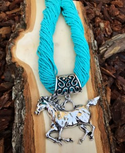 Turquoise Seed Bead & Horse Pendant Necklace
