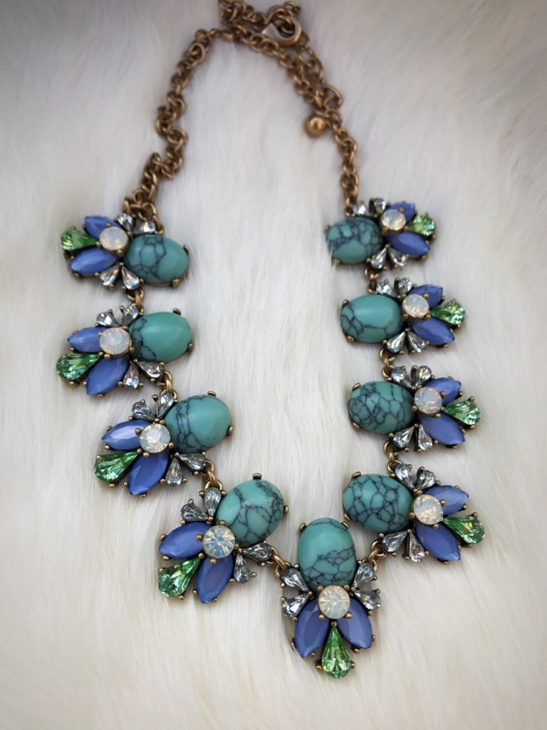 """ Rosy "" Turquoise Crystal Necklace"