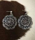 """ Nocona "" Flower Cut Out Earrings  ( Silver )"