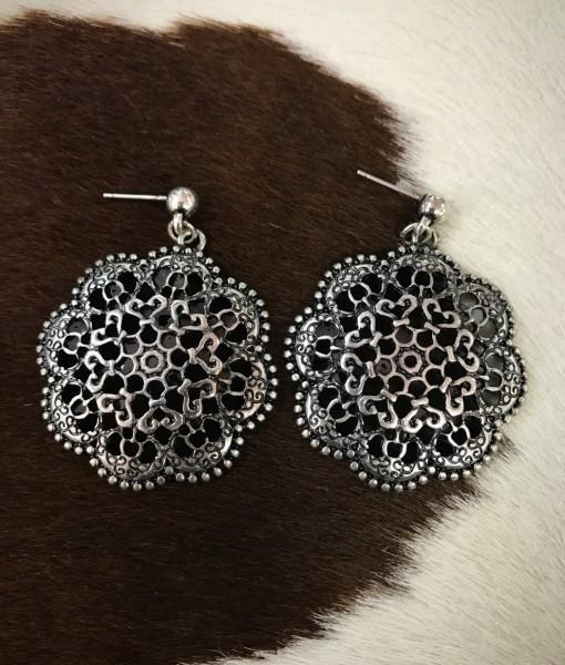 """"""" Nocona """" Flower Cut Out Earrings  ( Silver )"""