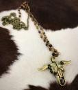 Long Bull Skull Pendant Necklace ( Gold / Brown )