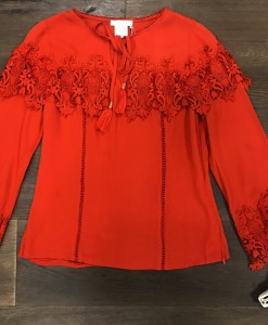 Lace Ruffle & Sleeve Detail Top