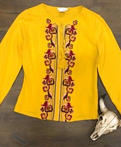 Floral Embroidery & Detail Sleeves ( Yellow )