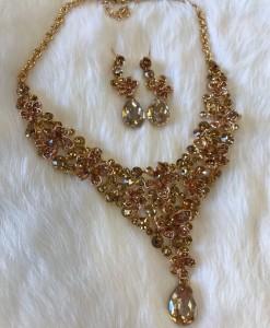 """ Christine "" Crystal Stament Necklace Set"