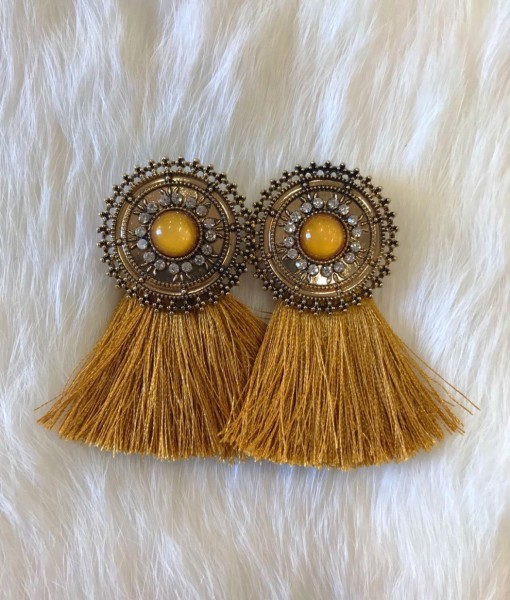 Trendy Tassel & Round Stud Earrings ( Mustard )