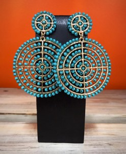 """"""" Lidia """" Round & Floral Bead Detail Earrings ( Turquoise )"""