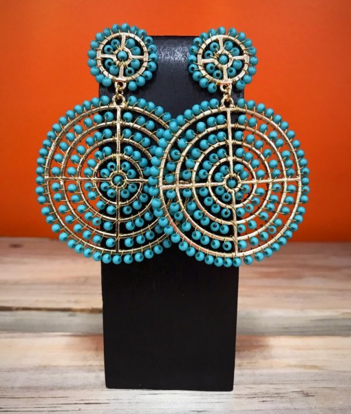 """ Lidia "" Round & Floral Bead Detail Earrings ( Turquoise )"