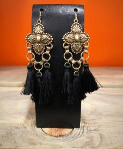 Floral Embossed Tassel Earrings ( Black )