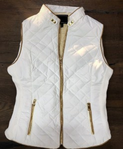 womens quilted vest white
