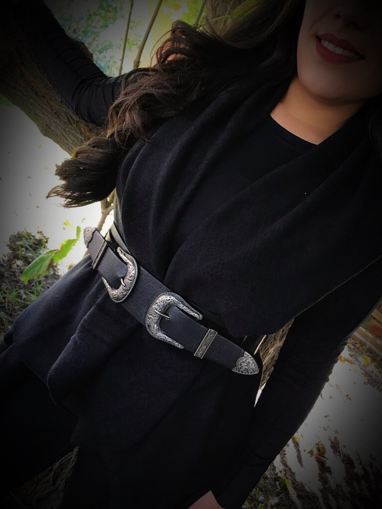 Stretchy Double Buckle Belt ( Black )